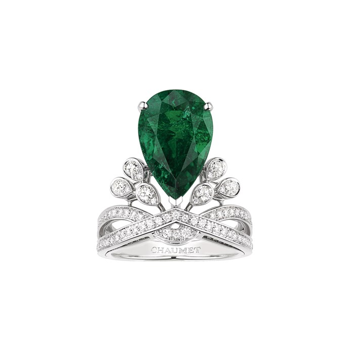 """**The Vibe: Elegant** <br><br> Joséphine Aigrette Impériale ring in platinum, set with pear-shaped emerald of around five carats and brilliant-cut diamonds, POA at [Chaumet](https://www.chaumet.com/high-jewellery/josephine-collection/josephine-aigrette-imperiale-ring-083563#product-media