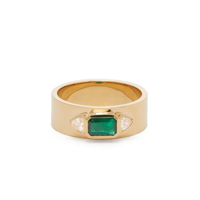 "**The Vibe: Gold Rush** <br><br> Azlee emerald, diamond and 18-carat gold ring, $6,445 at [MATCHESFASHION.COM](https://www.matchesfashion.com/au/products/Azlee-NESW-emerald%2C-diamond-%26-18kt-gold-ring-1273297|target=""_blank""