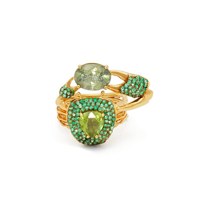"**The Vibe: Show-Stopper** <br><br> Daniela Villegas Thaumas 18-carat gold, emerald and tourmaline ring, $19,718 at [MATCHESFASHION.COM](https://www.matchesfashion.com/au/products/Daniela-Villegas-Thaumas-18kt-gold%2C-emerald-%26-tourmaline-ring-1274389|target=""_blank""|rel=""nofollow"")."