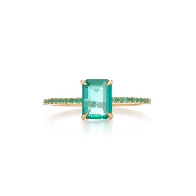 "**The Vibe: Modern Elegance** <br><br> Yi Collection 18-carat gold emerald ring, $3,165 at [Moda Operandi](https://www.modaoperandi.com/yi-collection-r19/18k-gold-emerald-ring|target=""_blank""|rel=""nofollow"")."