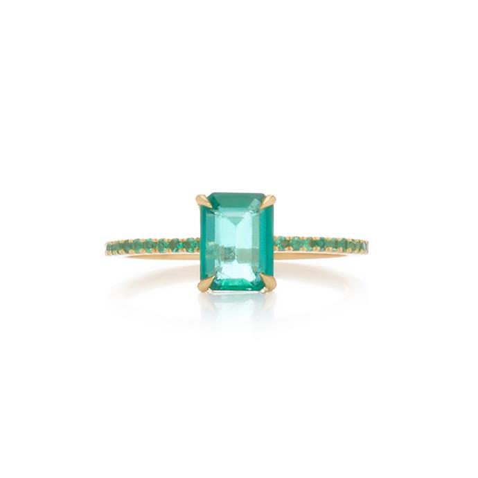 "**The Vibe: Modern Elegance** <br><br> Yi Collection 18-carat gold emerald ring, $3,165 at [Moda Operandi](https://www.modaoperandi.com/yi-collection-r19/18k-gold-emerald-ring target=""_blank"" rel=""nofollow"")."