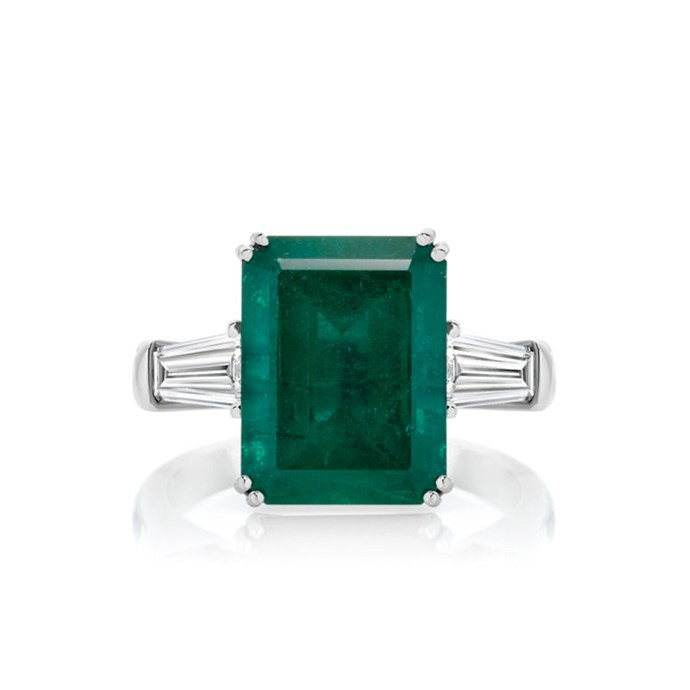 """**The Vibe: High Impact** <br><br> Emerald-cut emerald and diamond ring in platinum, POA at [Anton Jewellery](https://antonjewellery.com/collections/coloured-gemstone-jewellery/ajp1886-ajp1886_anton-high-jewellery-collection-emerald-diamond-ring