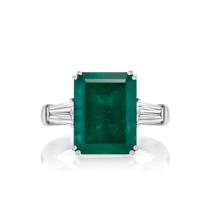 "**The Vibe: High Impact** <br><br> Emerald-cut emerald and diamond ring in platinum, POA at [Anton Jewellery](https://antonjewellery.com/collections/coloured-gemstone-jewellery/ajp1886-ajp1886_anton-high-jewellery-collection-emerald-diamond-ring|target=""_blank""