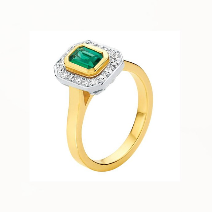 """**The Vibe: Two-Toned** <br><br> Two-tone engagement ring with an emerald gemstone, bezel set and surrounded by a halo of 18 brilliant-cut diamonds, $3,340 at [Larsen Jewellery](https://www.larsenjewellery.com.au/engagement-rings/emerald-cut/cleopatra-yellow-gold