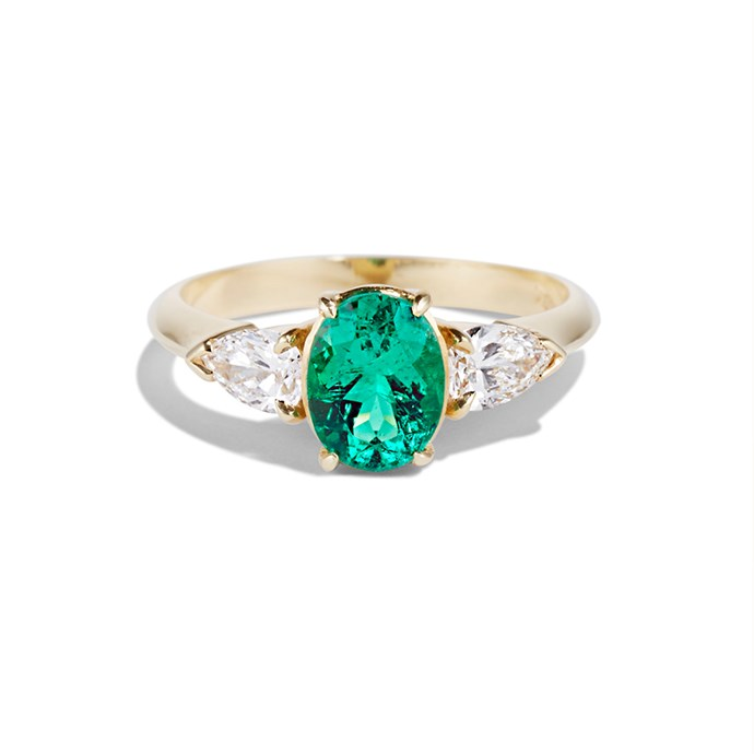 """**The Vibe: Vibrant** <br><br> Verde ring, $3,340 at [Cushla Whiting](https://cushlawhiting.com.au/product/jewellery/engagement/verde/#&gid=1&pid=1