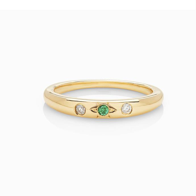 "**The Vibe: Understated** <br><br> Mystic ring, $820 at [Mania Mania](https://www.themaniamania.com/products/mystic-ring-yellow-gold-emerald|target=""_blank""