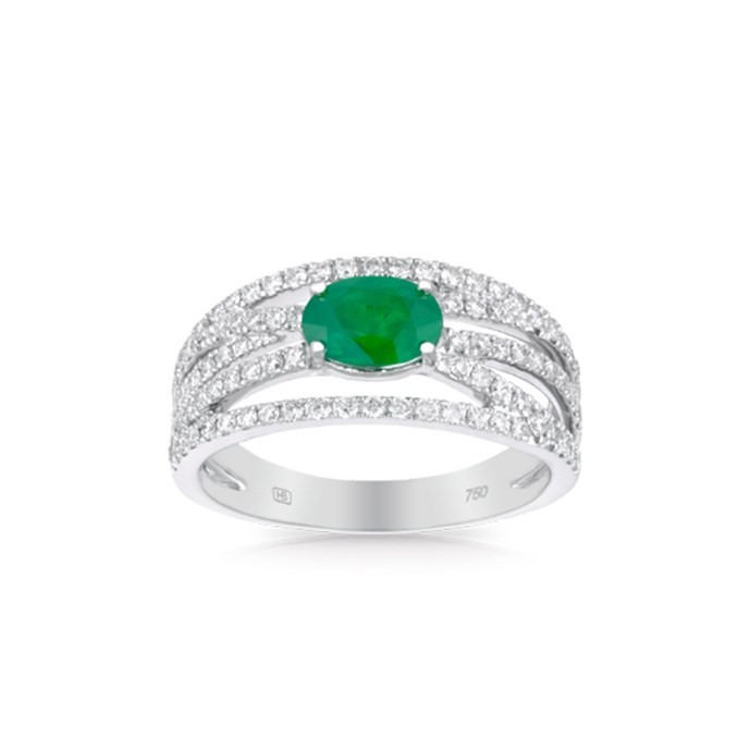 """**The Vibe: Just Add Diamonds** <br><br> 18-carat white gold ring with oval-cut natural emerald and diamonds, $8,999 at [Hardy Brothers](https://www.hardybrothers.com.au/products/9ITHEB300