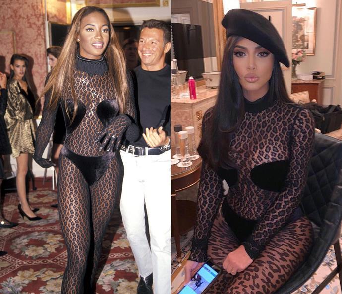 Naomi Campbell in 1991 / Kim Kardashian West in 2019.