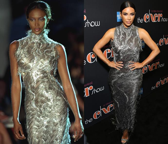 Naomi Campbell in 1998 / Kim Kardashian West in 2018.