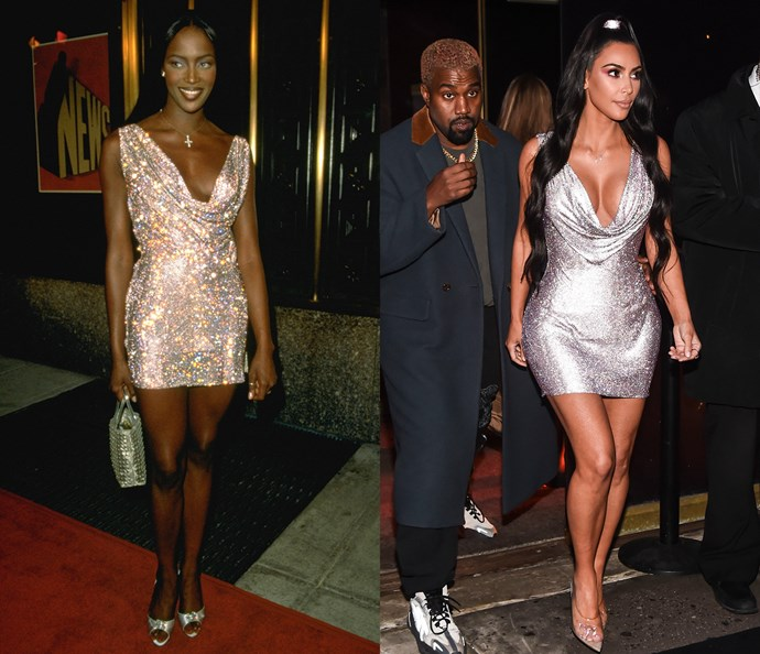 Naomi Campbell in 1997 / Kim Kardashian West in 2018.