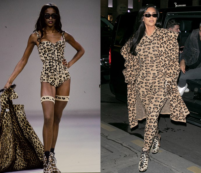 Naomi Campbell in 1991 / Kim Kardashian West in 2019.