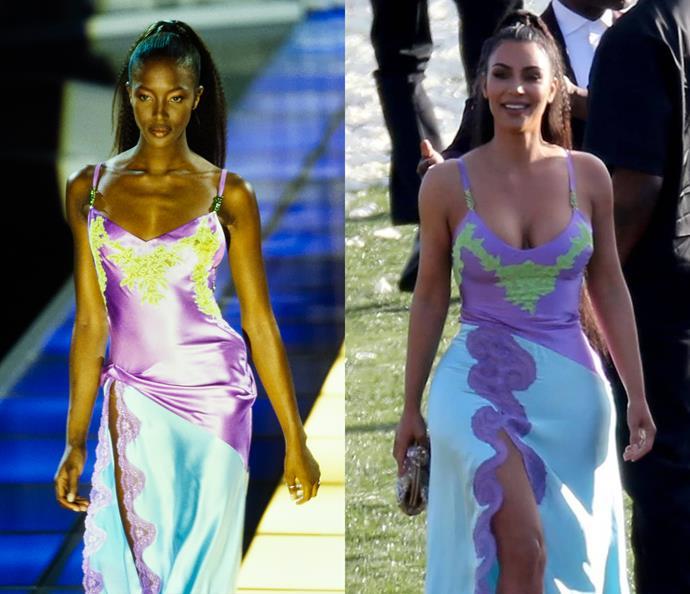 Naomi Campbell in 1996 / Kim Kardashian West in 2019.