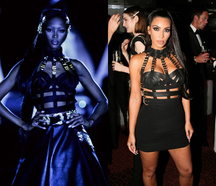 Naomi Campbell in 1992 / Kim Kardashian West in 2018.
