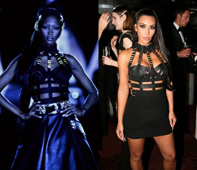 Naomi Campbell in 1992 / Kim Kardashian West in 2018.