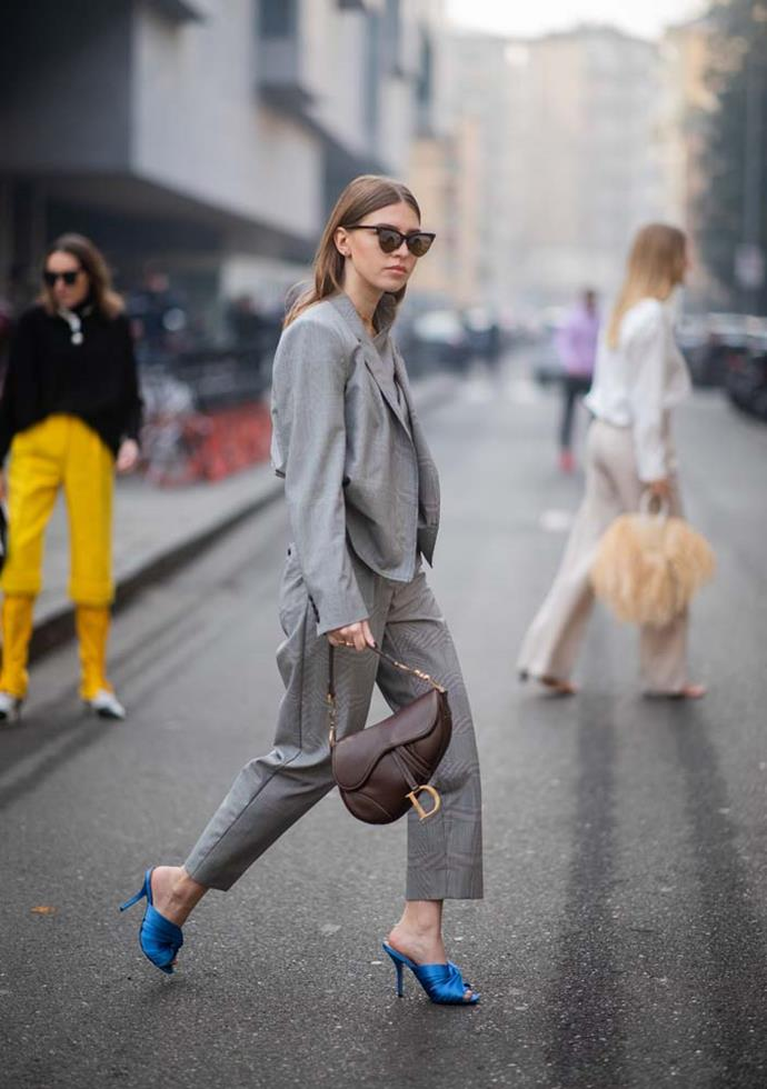 ***A suit-able arrangement***<br><br> This autumn, don't shy away from the suit. Layered over a turtleneck and covered with a coat for particularly cold days, the suit can also straddle the mid-line with a simple shirt or tee for the warmer ones.