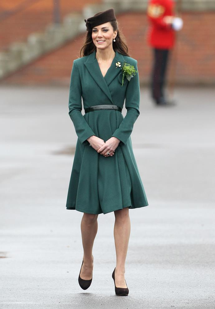 Kate Middleton attending a St Patrick's Day parade in 2012.