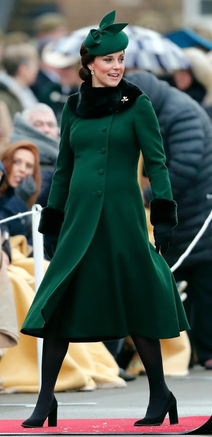 Attending an event at the Cavalry Barracks on March 17, 2018, while pregnant with Prince Louis.