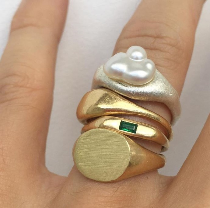 """**A Signet Ring** <br><br> A solid gold signet ring is a sturdier everyday piece that adds some weight to a line-up of more delicate rings. Choose one that bears your loved one's initials or your family crest, or opt for something a bit left-of-centre. """"Seb Brown makes my favourites,"""" Wong says. """"The coloured jewels really gives it an eclectic feel."""" <br><br> *Image: Instagram/[@sebbrown](https://www.instagram.com/p/BbtEDyaDcb7/ target=""""_blank"""" rel=""""nofollow"""")*"""