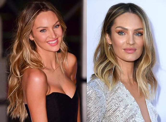 "**Candice Swanepoel** <br><br> Known for her long, blonde mane, Victoria's Secret model Swanepoel has traded her signature mermaid hair for an 'in-between bob', one of the most [on-trend short haircuts of 2019](https://www.harpersbazaar.com.au/beauty/short-hair-styles-2019-18300|target=""_blank"")."