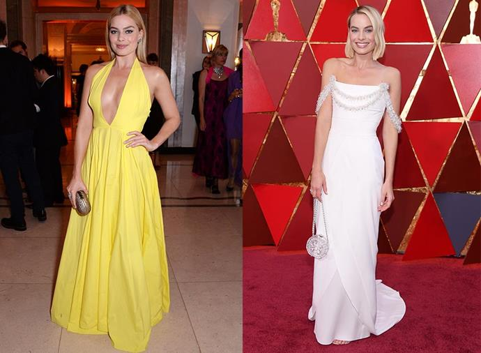 **Margot Robbie: Cristina Ehrlich > Kate Young** <br><br> Robbie was paired with Cristina Ehrlich back in her *Wolf of Wall Street* days, and consistently turned out classic, elegant and youthful red carpet looks. When she paired up with Young, however, she transitioned from young ingenue to fashion force, channelling the sheer glamour of the '90s supermodels and cutting her long blonde tresses into a chic, chin-grazing bob. It's been perfection ever since.