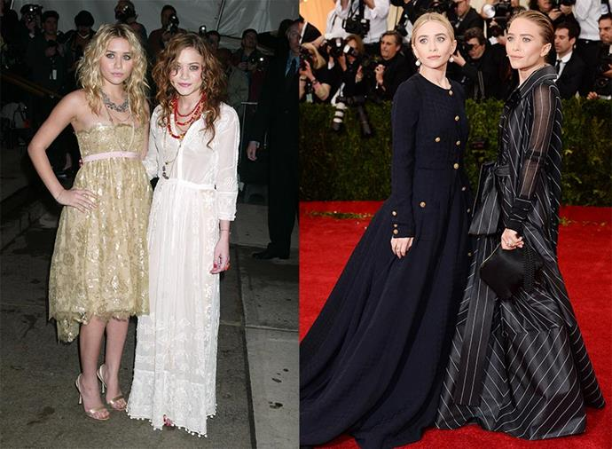 **Mary-Kate and Ashley Olsen: Judy Swartz > Themselves** <br><br> Stylist Judy Swartz is the woman responsible for the Olsen twin's iconic early-2000s boho looks, from their excessive layering of clothing to their eclectic approach to accessorising. Although the Olsens separated from Swartz around 2006, when they founded their high-end clothing line The Row, they remain close friends with her. Since the pair began styling themselves, their wardrobe has taken a distinctly monochromatic turn, with the designers opting for demure, structured pieces in all-black.