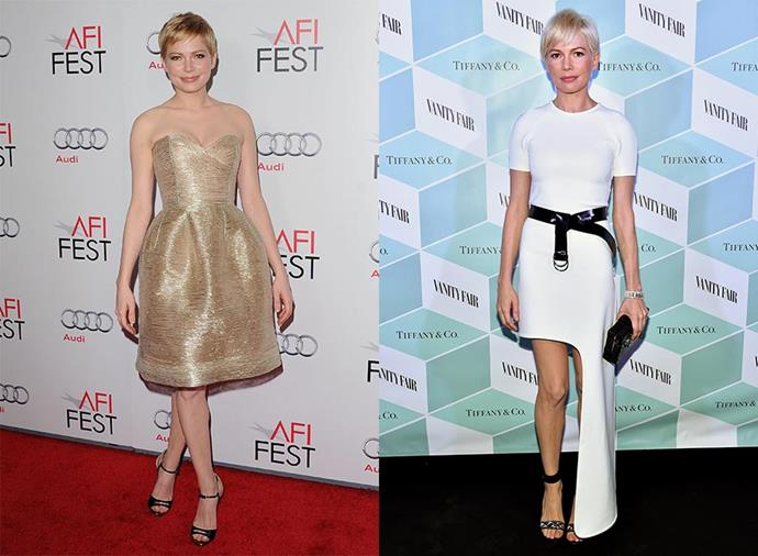 **Michelle Williams: Leith Clark > Kate Young** <br><br> Michelle Williams jumped on the Kate Young bandwagon before plenty of celebrities did, switching from stylist Leith Clark to Young around 2012. Immediately, her red carpet approach went from sweet and feminine to cutting edge and ultra-chic.