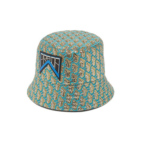 "**Buy:** <br><br> Hat by Prada, $550 at [MATCHESFASHION.COM](https://www.matchesfashion.com/au/products/Prada-Geometric-jacquard-logo-patch-bucket-hat-1249201|target=""_blank""