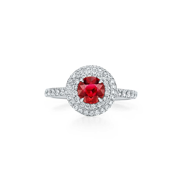 "Diamond and ruby ring, $15,200 at [Tiffany & Co.](https://www.tiffany.com.au/jewelry/rings/tiffany-soleste-ring-GRP10215/|target=""_blank""
