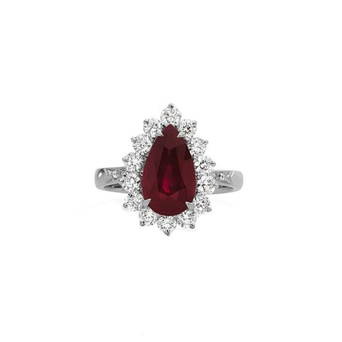"White gold and ruby ring, POA at [Cerrone](https://www.cerrone.com.au/high-jewellery/18ct-white-gold-pear-cut-ruby-diamond-ring/|target=""_blank""