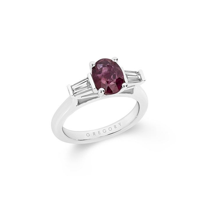"Ruby and diamond ring, POA at [Gregory Jewellery](https://www.gregoryjewellers.com.au/oval-ruby-diamond-trilogy-ring-with-classic-band.html|target=""_blank""