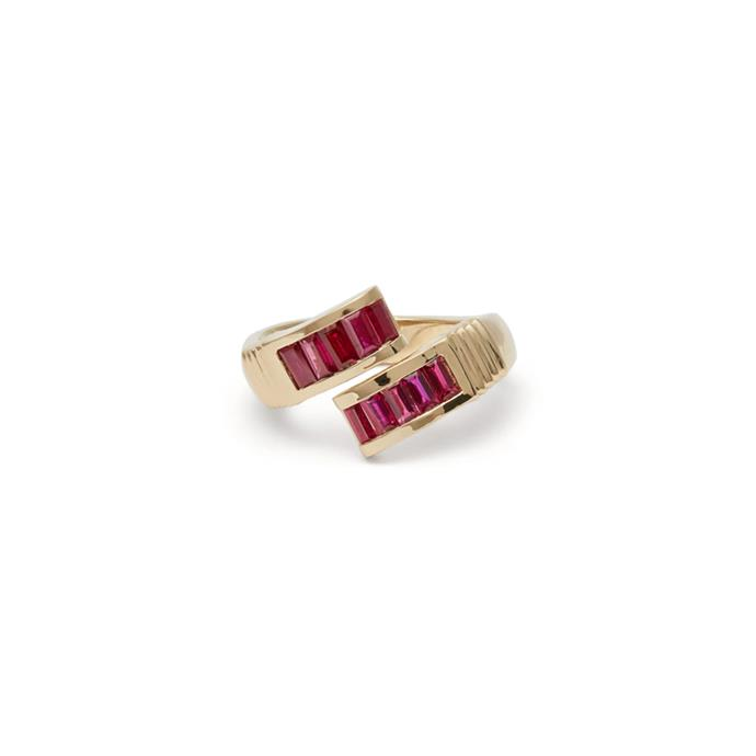 "Ruby and gold ring by Retrouvai, $5,444 at [MATCHESFASHION.COM](https://www.matchesfashion.com/products/Retrouvai-Wrap-ruby-%26-gold-ring-1260823|target=""_blank""