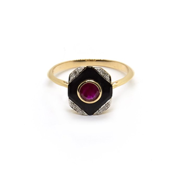 "Victorian onyx, ruby and diamond ring, $1,600 at [Natalie Marie Jewellery](https://www.nataliemariejewellery.com/collections/engagement-rings/products/estelle-vintage-victorian-onyx-ruby-and-diamond-ring|target=""_blank""