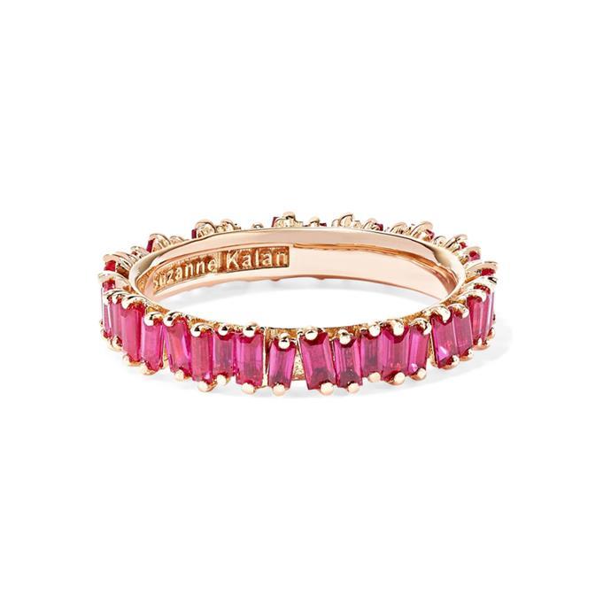 "18-karat rose gold ring by Suzanne Kalan, $4,518 at [Net-A-Porter.](https://www.net-a-porter.com/au/en/product/1101039/Suzanne_Kalan/18-karat-rose-gold-ruby-ring|target=""_blank""|rel=""nofollow"")"