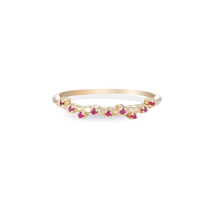 "9ct yellow gold ring, $300 at [HLSK](https://hlsk.com.au/products/blossom-ii-ruby|target=""_blank""