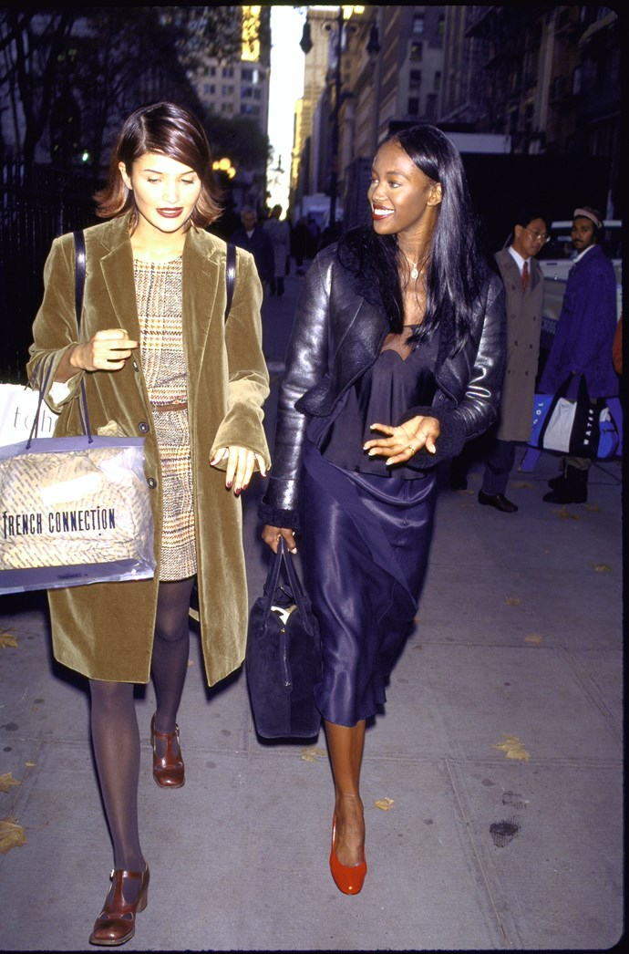 Helena Christensen and Naomi Campbell in 1994.