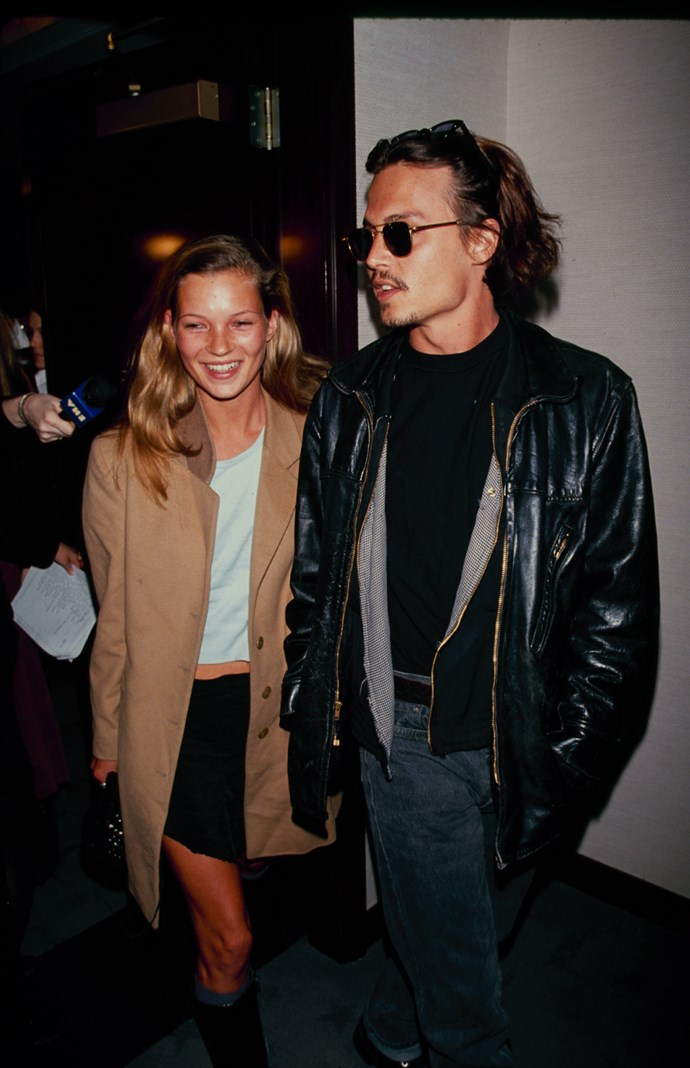 Kate Moss and Johnny Depp in 1990.