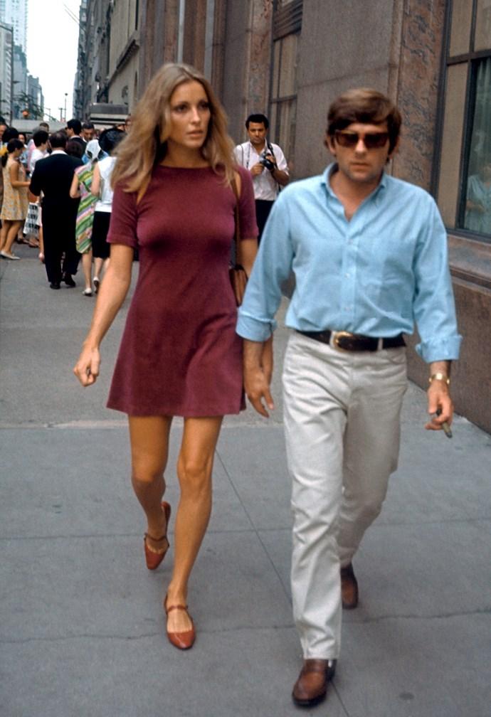 In a wine-coloured mini dress in 1967.