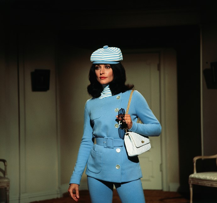 Donning a blue suit in 1969.