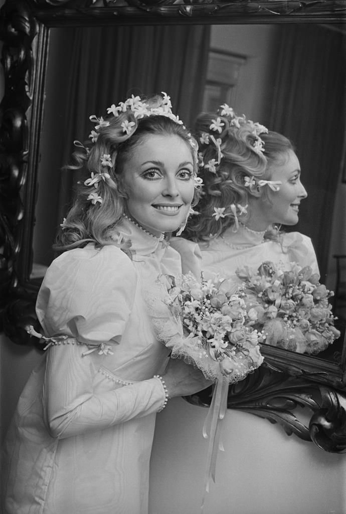 At her wedding to Roman Polanski in 1968.