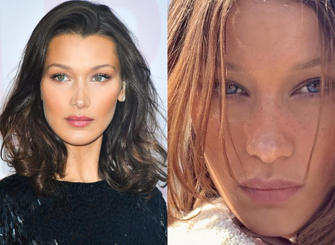 "**Bella Hadid** <br><br> Model Bella Hadid took to Instagram this morning to reveal she's returned to her natural blonde. On a slideshow of two photos, she wrote: ""Back to dirty blonde, back to my roots ! Per [Mert Alas'] wishes"". Aside from a few wigs, Hadid has committed to her signature deep brunette hair for almost her entire career. Her natural hair, like her sister Gigi, is blonde."