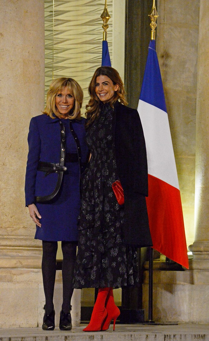 With Brigitte Macron in France in January 2018.