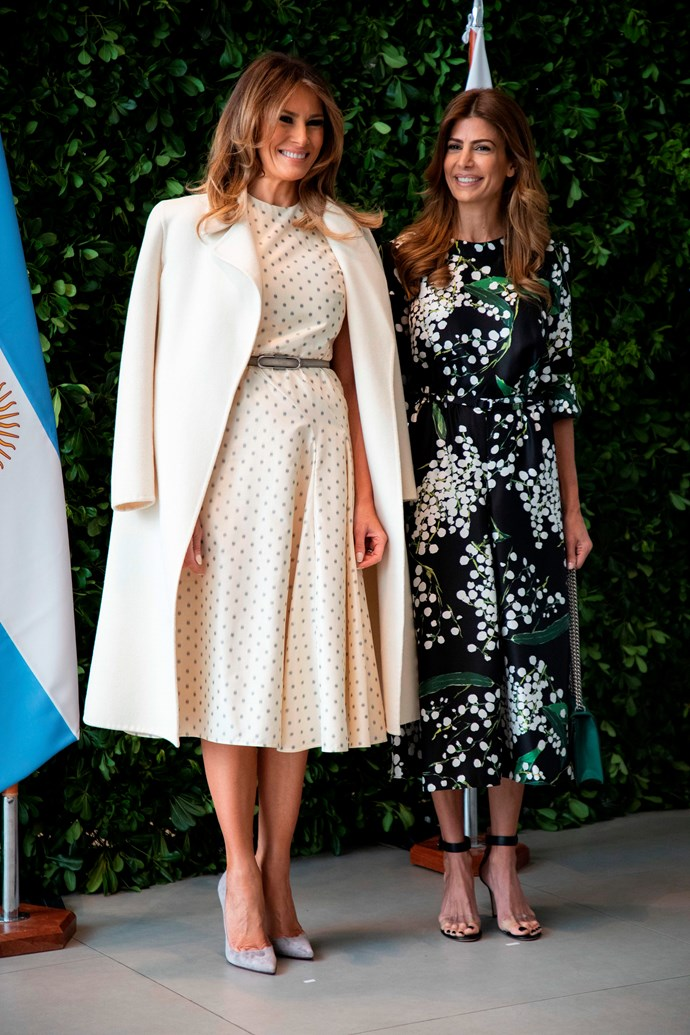 With Melania Trump at the 2018 G20 Summit.