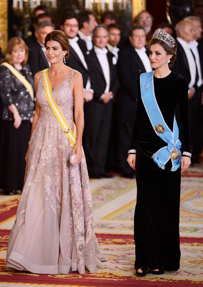 With Queen Letizia at a gala dinner in Madrid in 2017.