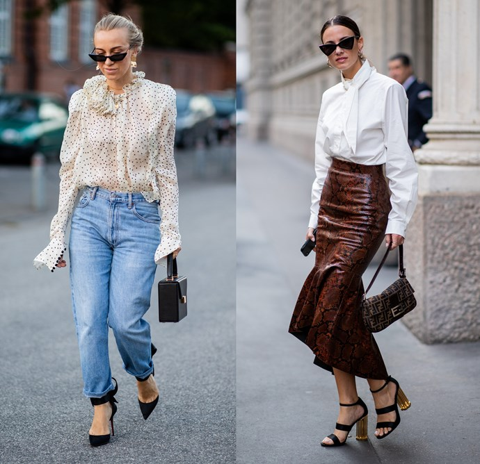 """***The gauzy blouse***<br><br> In summer, we live in blouses, so why shelve them for winter? """"Tuck it into a mid-length leather skirt and wear with over-the-knee slouchy boots and a checked blazer,"""" advises O'Neill."""