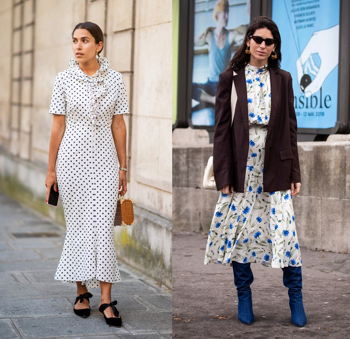 """***The midi dress***<br><br> Breezy dresses shouldn't have to face the packing boxes, no matter the fabric. Add warmer basics over and under to transition it into wet-weather territory. """"Nothing a turtleneck and a boot can't fix!"""" says O'Neill."""