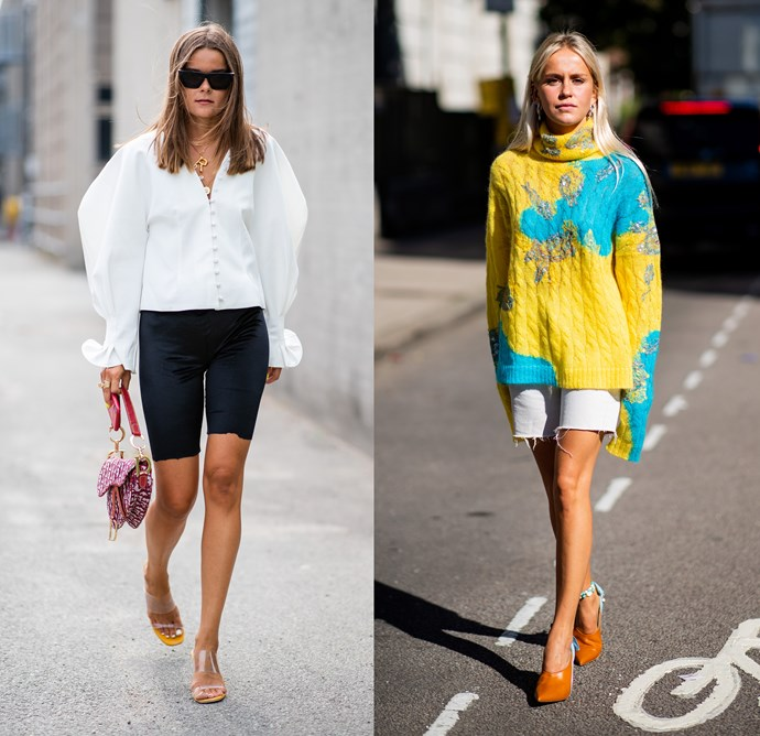 """***The Bermuda short***<bR><br> Did you hop onto the bike or Bermuda short trend this summer? You weren't the only one. From Kim Kardashian to street-style stars, knee-length shorts were a summer staple, but they don't have to stay that way. """"A chunky oversized knit takes the look into winter territory,"""" says O'Neill."""