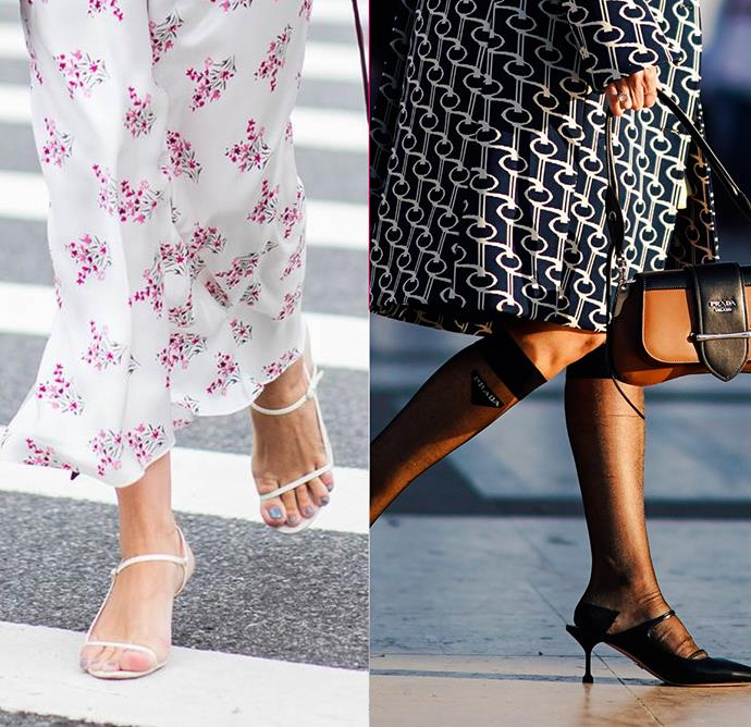 """***The barely-there sandal***<br><br> Whether from The Row, Celine or even Topshop's cultish high-street option, barely-there sandals were everywhere in 2018. Take them into the cooler months with the addition of tights, stockings or, as Grace O'Neill suggests, """"over Prada sheer knee-high tights!"""""""
