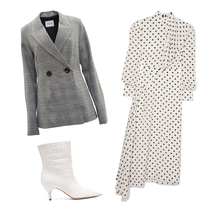 """Dress by Alessandra Rich, $3,278 at [NET-A-PORTER](https://www.net-a-porter.com/au/en/product/1135434/alessandra_rich/asymmetric-polka-dot-silk-crepe-de-chine-dress target=""""_blank"""" rel=""""nofollow""""); Blazer by Georgia Alice, $699 at [The Undone](https://www.theundone.com/collections/jackets/products/georgia-alice-memory-blazer-check target=""""_blank"""" rel=""""nofollow""""); Boots by Gabriela Hearst, $1,521 at [MATCHESFASHION.COM](https://www.matchesfashion.com/au/products/Gabriela-Hearst-Mariana-crocodile-effect-leather-ankle-boots-1251315 target=""""_blank"""" rel=""""nofollow"""")."""