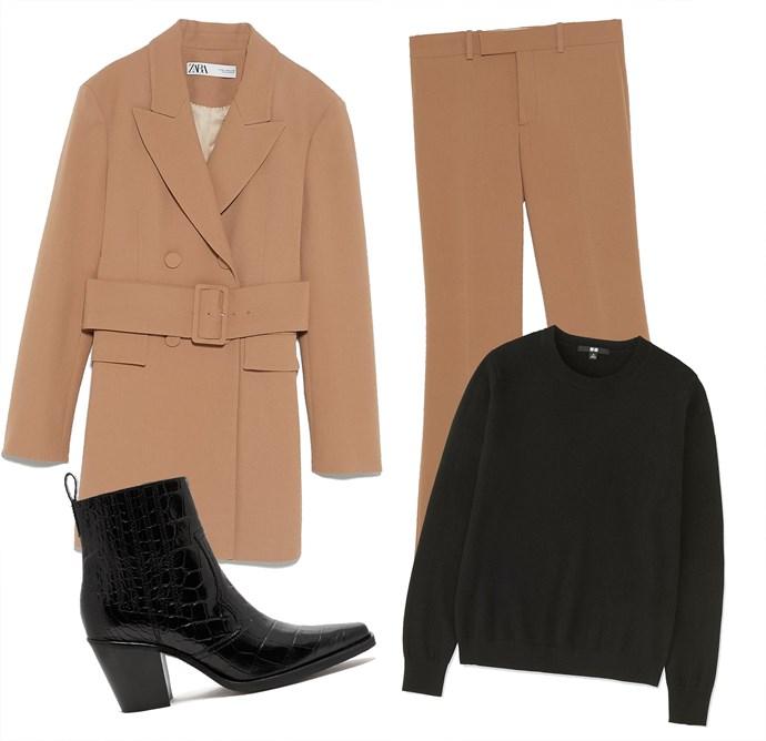 "Jacket, $239 at [ZARA](https://www.zara.com/au/en/jacket-with-belt-p07328703.html?v1=8655581&v2=1010380 target=""_blank"" rel=""nofollow""); Trousers, $99 at [ZARA](https://www.zara.com/au/en/flared-trousers-p07298703.html?v1=8563580&v2=1010380 target=""_blank"" rel=""nofollow""); Cashmere sweater, $129.90 at [Uniqlo](https://www.uniqlo.com/au/store/women-cashmere-crew-neck-sweater-4087190001.html#colorSelect target=""_blank"" rel=""nofollow""); Boots by Ganni, $539 at [MATCHESFASHION.COM](https://www.matchesfashion.com/au/products/Ganni-Callie-Western-crocodile-effect-leather-boots-1241845 target=""_blank"" rel=""nofollow"")."