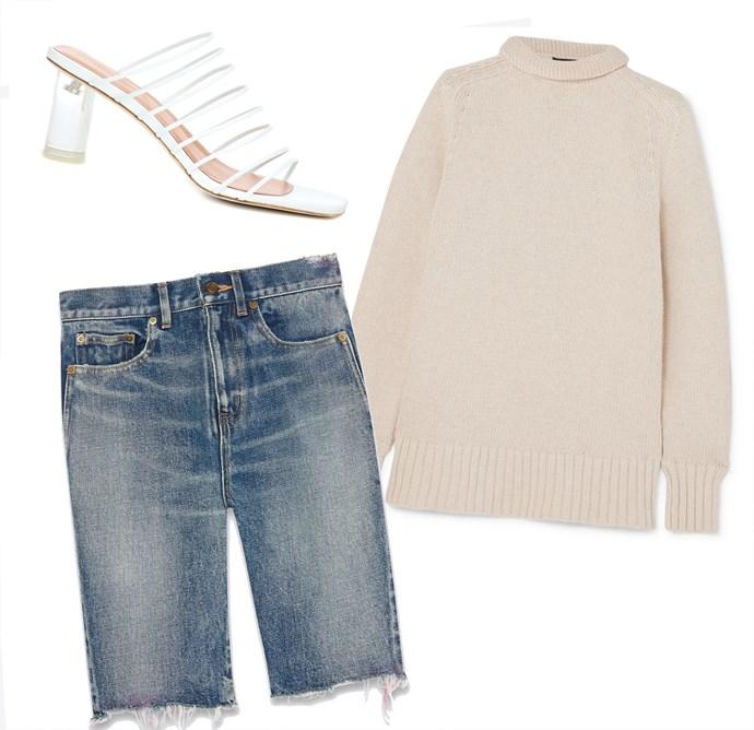 "Shorts, $975 at [Saint Laurent](https://www.ysl.com/au/shop-product/men/ready-to-wear-denim-pants-raw-edge-bermuda-shorts-in-miami-blue-spray-denim_cod13260652sa.html target=""_blank"" rel=""nofollow""); Sweater by Joseph, $526 at [NET-A-PORTER](https://www.net-a-porter.com/au/en/product/1104441 target=""_blank"" rel=""nofollow""); Mules by Rejina Pyo, $715 at [My Theresa](https://www.mytheresa.com/en-de/rejina-pyo-zoe-leather-mules-1144896.html?catref=category target=""_blank"" rel=""nofollow"")."